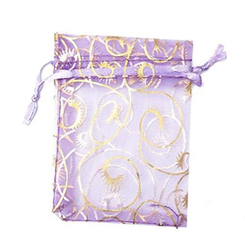 Bluelover 100Pcs Organza Sachet Cadeau Bijoux Cadeau Sac De Bonbons Emballage De Mariage Sacs Cadeau Party - Violet