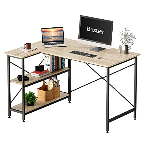 Bestier Corner Desk with Storage Shelves Small L-Shaped Desk with Bookshelf 120CM Computer Desk Table with Drawers Home Office Desk for Small Spaces P2 Wood Oak