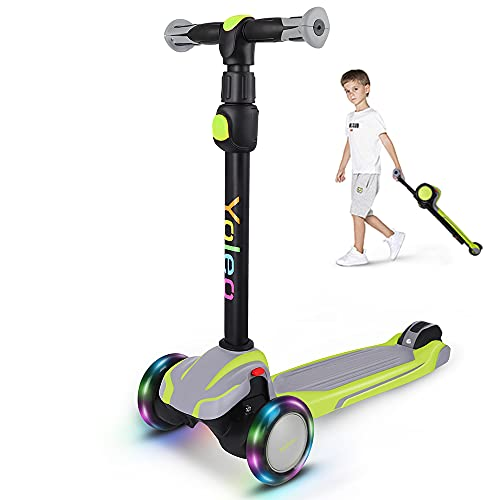Yoleo Kinderroller, Tretroller mit LED Leuchtenden Räder, Kinder Scooter 4 Höhenverstellbare für Jungen & Mädchen von 3-12 Jahren, bis 75kg blasbar, grau