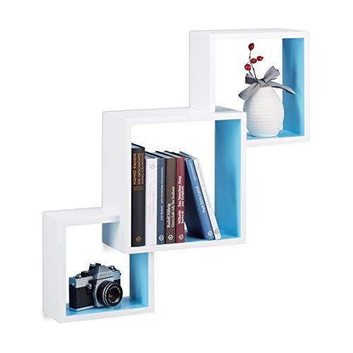 Relaxdays Estantes de Pared en Forma de Cubos, Madera, Blanco y Azul, 15x66x66 cm