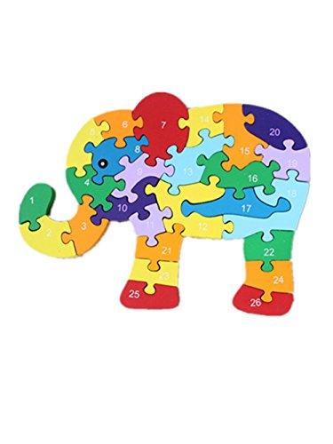 Woop Zahlen-puzzle Holz Elefant Ruessel ausgerollt - Klein-Kinder ab 3 Jahre