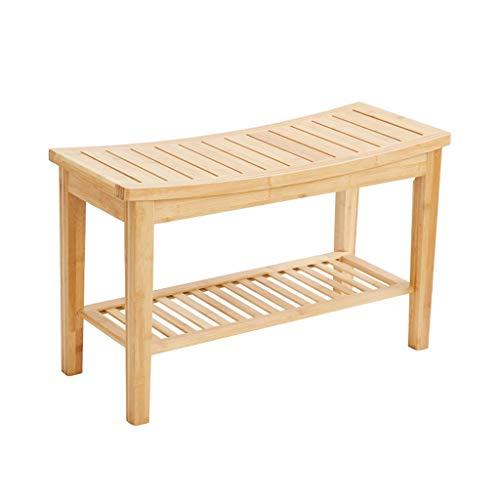 LWF Douche Banc Tabouret avec étagère - Waterproof Bamboo Spa Salle de Bain Décor Organisateur - Bois Siège Banc for Une Utilisation intérieure ou extérieure