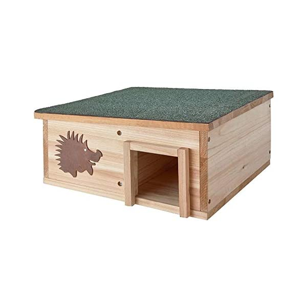 Guaranteed4Less Hedgehog House Wooden Roof Nature Hibernation Box Garden Shelter Home Nest Bed