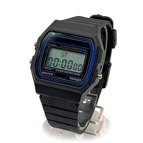 BDM Reloj de Pulsera Digital clásico Casiopea Negro para Hombre y Mujer, niño y niña con Alarma. Regalo de cumpleaños