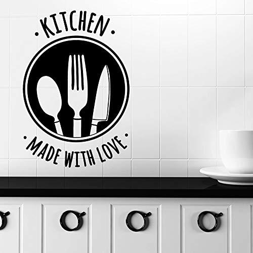 mlpnko Wandtattoos Zitate mit Liebe Küche Werkzeuge nach Hause Backen Dekoration Dekoration Messer und Gabel Wandbild Vinyl Aufkleber 57X38cm gemacht