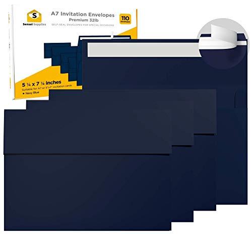 110 sobres de invitación de 5 x 7 pulgadas, color azul marino, para tarjetas de 5 x 7 pulgadas,...