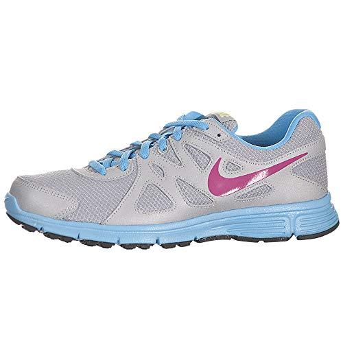 Nike Revolution 2 GS Funda de protección Negro, Gris (Metallic Silver/Fusion Pink/Black), 20 EU