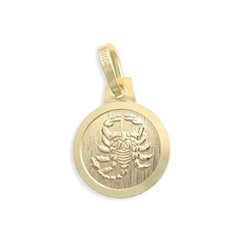 Sternzeichen Tierkreiszeichen Skorpion & Schutzengel 14 Karat Gold 585 Anhänger Durchmesser 10mm (Art.213126)