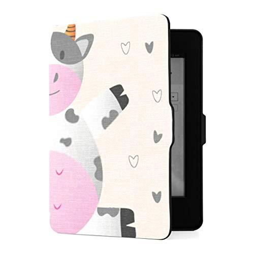 Kindle Paperwhite 1 2 3 Case, Cute Cow Illustration Vector Art Design Funda de Cuero PU con Smart Auto Wake Sleep para Amazon Kindle Paperwhite (se Adapta a Las Versiones 2012, 2013, 2015)