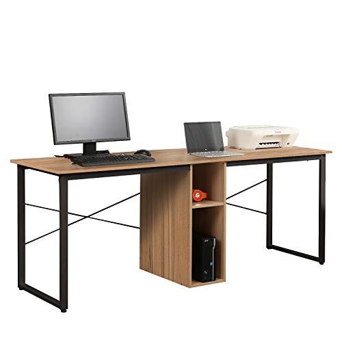 Soges Large Dual Desk 2 Person Workstation Desk Double Computer Desk with Storage Cube Home Office Desk Writing Desk Storage Desk Teens Desk, Oak LD-H01OK