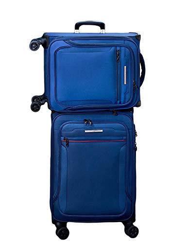 Verage Toledo Weichgepäck 4 Doppelrolle Trolley Set 2-teilig Weichschale Kofferset S M, erweiterbar, TSA-Schloss, mit Stoff Handgepäck-Koffer Blau