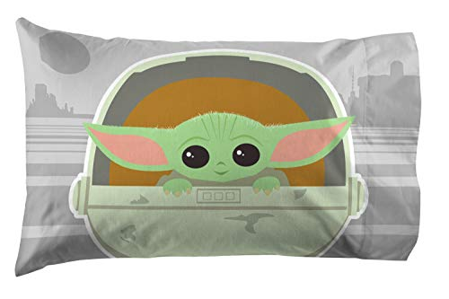 Star Wars The Mandalorian The Cutest Bounty 1 Pack Pillowcase - Double-Sided Kids Super Soft Bedding - Features The Child Baby Yoda (Official Star Wars Product)