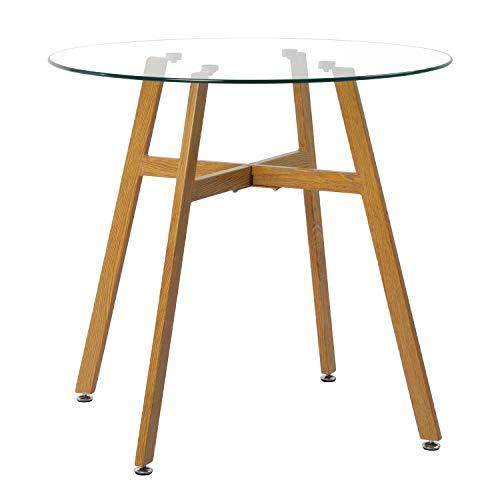IPOTIUS Moderne Ronde Glazen Eettafel voor 2 4 Personen Keukentafel Koffietafel,4 Stabiele Metalen Poten,80x75cm