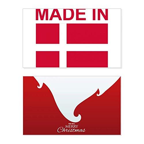 Gemaakt in Denemarken Land Liefde Vakantie Vrolijk Kerstmis Kaart Kerstmis Vintage Boodschap