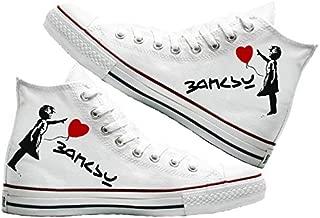 Art T-Shirt -Banksy Baskılı Unisex Canvas Ayakkabı