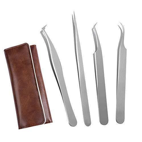 Lunamoon Wimpern Pinzette für Wimpernverlängerung - 4 Stück Gerade und gebogene spitzen Pinzette Professionelle Wimpern Pinzette Set (tweezers set05)