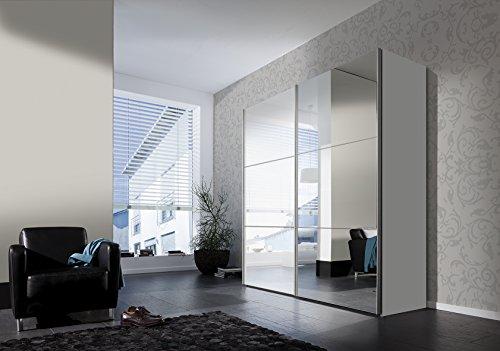 Express Möbel Schwebetürenschrank 2-türig Bianco Weiß Hochglanz mit Spiegel BxHxT 200x216x68 in verschiedenen Farben und Größen