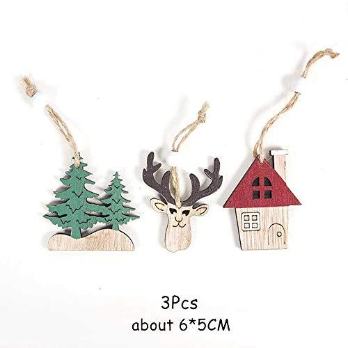 Coogg Naturel kerstmis Elk hout handwerk kerstboom ornament voor huis van hout hanger cadeau Comme montré F