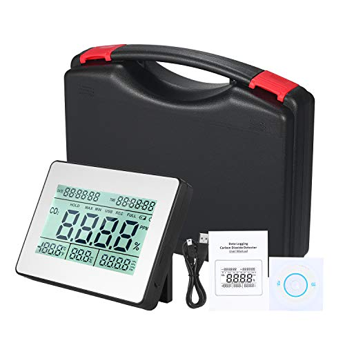 Kecheer Detector de dióxido de carbono,Co2 detector,Co2 tester con temperatura/humedad/barométrica/calendario,Monitor de calidad del aire
