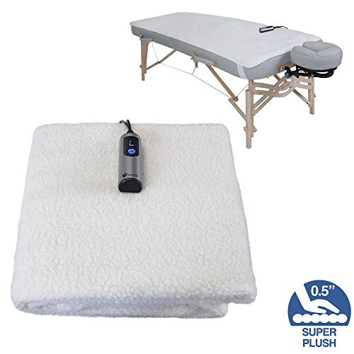 EARTHLITE Massage Table Warmer & Fleece Pad (2 in 1) - 3 Heat Settings, Cozy 0.5' Fleece - Updated...