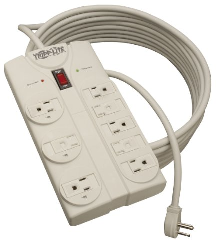 Tripp Lite 8 Outlet Surge Protector Power Strip, Extra Long Cord 25ft, Right-Angle Plug, Lifetime Limited Warranty & Dollar 75K Insurance (TLP825) , White