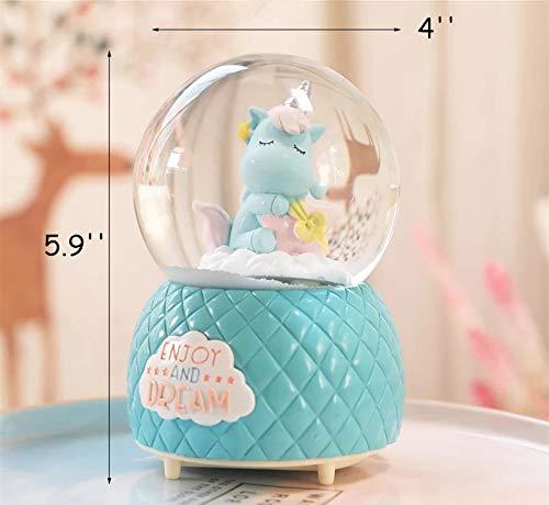 Musical Unicorn Snow Globe for Kids, 100mm Resin Glitter Music Box with Multiple Tunes, Gift for Girls - Blue 5