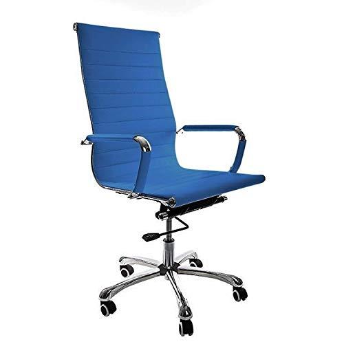 Vivol Madrid Schreibtisch Stuhl Kunstleder Blau | Design Bürostuhl Ergonomisch | Bürostuhl 120 kg | Drehstuhl mit Rollen und Armlehnen