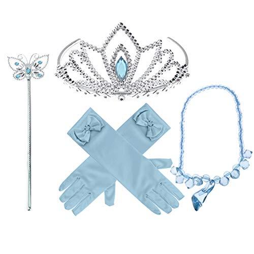 iEFiEL Accesorios de Vestir Princesa 5Pcs Regalo Conjunto de Belleza Corona Sceptre Collar Guantes para Niña Cosplay Halloween Carnaval Fiesta de cumpleaños Morado+Azul Azul OneSize