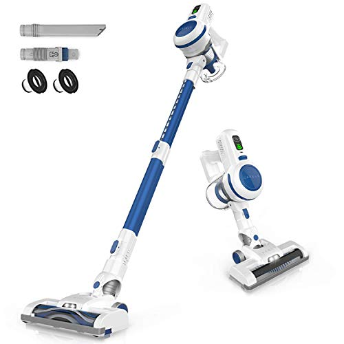 ORFELD Cordless Vacuum, 17000pa Stick Vacuum 6 in 1, Long Runtime, Lightweight & Ultra-Quiet for Hard Floor Carpet Pet Car Cleaning Blue & White
