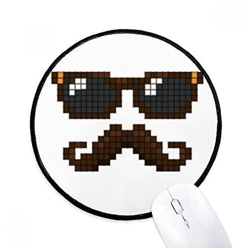 DIYthinker Zonnebril Baard Man Pixel Ronde Antislip Mousepads Zwart Titched Edges Game Office Gift