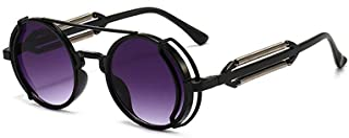 Occhiali da sole Steampunk Occhiali rotondi retrò Protezione UV400 Occhiali polarizzati vintage per donna Uomo