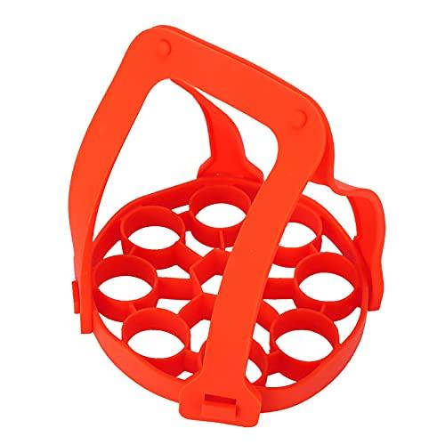 WMKD Egg Steamer Rack - Olla a presión con aislamiento térmico, 9 agujeros, para cocina o restaurante (rojo)