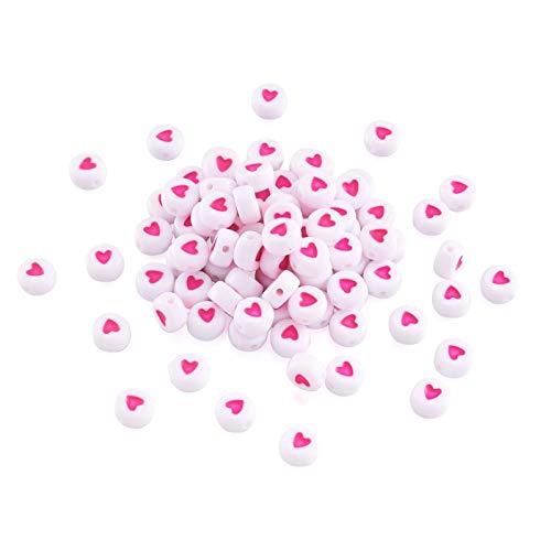 Beadthoven 360 unidades de 50 g de cuentas de corazón de acrílico blanco, 7 mm, redondas, redondas, de amor, de corazón y pony, cuentas para pulseras, abalorios