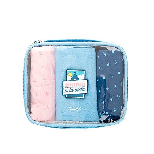 Mr. Wonderful Superviaje A La Vista Organizador para Maletas, 20 cm, Azul