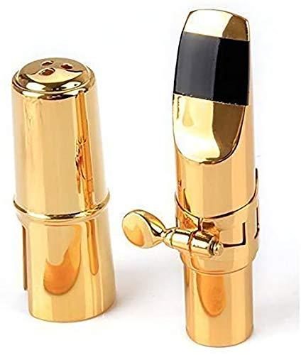 Aibay Metal Eb Alto Saxophone Mouthpiece + Cap + Ligature Size 7 Gold (7, Plated Gold)