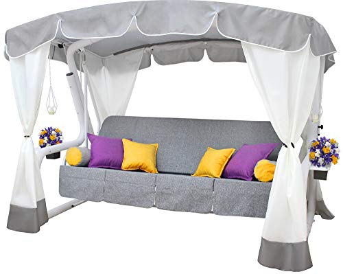 Sit&Swing Deluxe Patio Canopy Swing for Outdoor Outside Garden Yard Backyard 2 3 4 Seat Person Large Bed Daybed Porch Covered Heavy Duty Steel Frame Reclining Metal Swing Waterproof (Gerda)