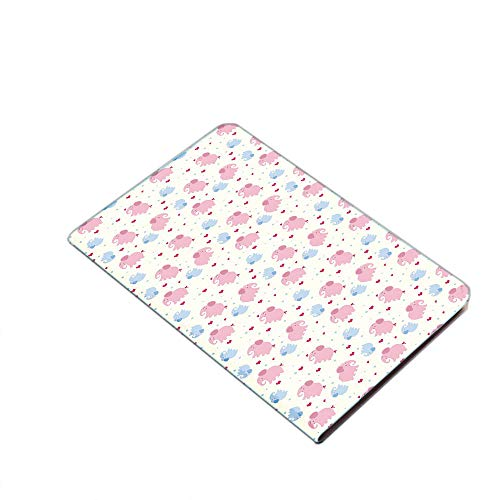 iPad Air 10.5' (3rd Gen) 2019 / iPad Pro 10.5' 2017 Smart Case Cover - Cheerful Cute Kids Pattern with Red Hearts and Blue Dots Cartoon Style Lovely Zoo Ultra Slim Lightweight Stand Case with PU Leath