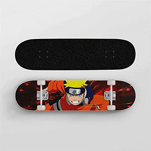 Nixi888 Anime Skateboard Naruto Uzumaki Naruto Naranja Ropa Doble Patada al Aire Libre Cepillo Skateboard Skateboard de Cuatro Ruedas, para Adultos, Material de Arce