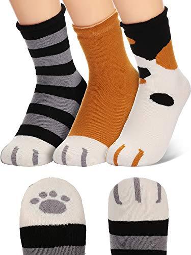 SATINIOR Katze Klaue Socken Baumwolle Warme Katze Pfote Socken für Damen Gemütlich Katze Pantoffel Socken (Gelb, Gestreift Schwarz, Weiß, 3)