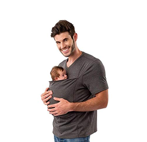 HKDFFC Umstandsmode Eine große Tasche Babytrage Kangaroo Dad Stretch Kurzarm T-Shirt Multifunktionsbluse Tank Rundhals Lässige Herrenmode,Grau,XXXL