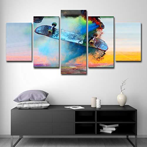 5 Panel leinwand Moderne HD Druckbild Wohnzimmer Schlafzimmer Dekoration malerei 75 cm Farbe Skateboard lebendige Sport ölgemälde