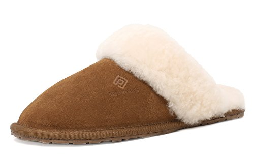 DREAM PAIRS Women's Bliz Chesnut Sheepskin Slip On House Slippers Indoor & Outdoor Winter Shoes Size 5 M US