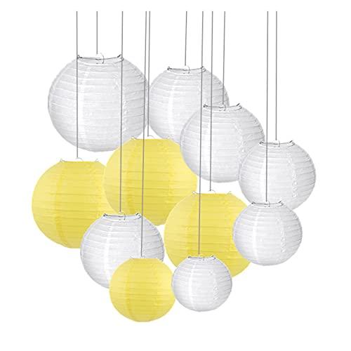 CAIFEIYU 30 unids/Set (4,6,8,10,12,14 '') Cálido Blanco Linterna de Boda Luces Lámparas de Bola de Papel Chino para la decoración del Favor del Partido (Color : Yellow, Lantern Size : 6-14inch)