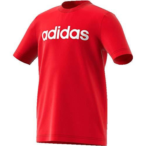 adidas Yb E Lin tee Camiseta, Niños, Escarl/Blanco, 116 (5/6 años)