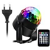 AOGUERBE Lampe de Scène 15 Color Éclairage de Discothèque, Mini Lumière Disco RGB LED Projecteur Effet Spot DJ Boule Cristal Disco Eclairage Déco Atmosphère Soirée Fête [Avec Télécommande ]