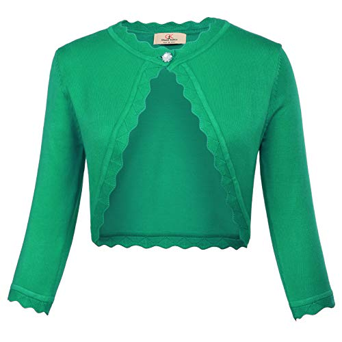 Women's Knit Cardigan Christmas Sweaters 3/4 Sleeve Open Front Shrug Bolero Jacket Green