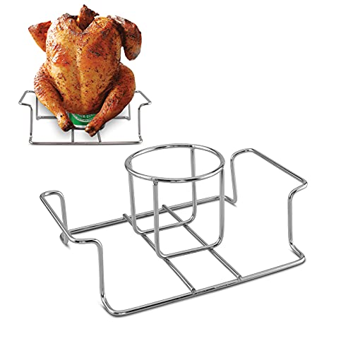 Koohere Beer Can Chicken Holder for Grill and Smoker, Premium Grade Stainless Steel Beer Chicken Stand with Handle
