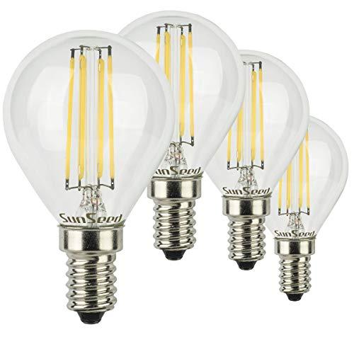 SunSeed® 4x Glühfaden LED Golfball-Lampe E14 6W ersetzt 60W Neutralweiß 4000K