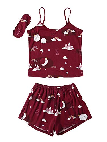 DIDK Conjunto de pijama de verano para mujer, con parte superior y pantalones cortos, diseño de dibujos animados, tirantes finos, juego PJ marrón castaño L
