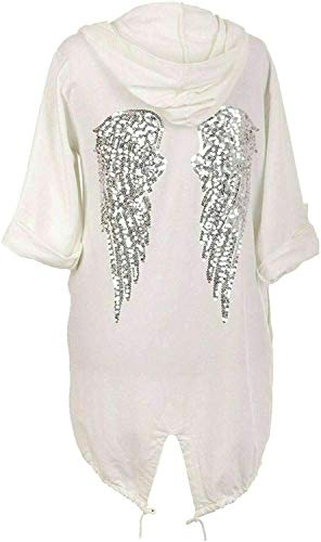 G3F Damen Pailletten Engelsflügel zurück Baggy Oversized Hoodie Cardigan Jacke Sweatshirt Top Gr. One size, cremefarben